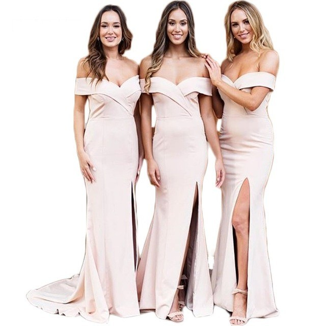 Hot Boat Neck Off The Shoulder Bridesmaid Gowns  Peach Gading Champagne Silver  a8d227562efe