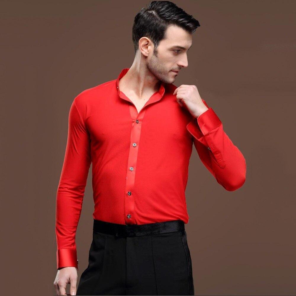 sexy New Men Ballroom Dance Tops Red Black White Latin Shirt Clothing For  Dance Cha Cha Rumba Samba Jazz Dancewear Top DQ6046-in Latin from Novelty  ... 196816cdd