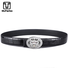 McParko Luxury Brand Belt For Men Crocodile Skin Genuine Leather Straps Noble Chinese Lucky Loong Buckle Waist