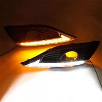 1 Pair Turn Signal Light Style Relay Car Flashing 12V Car LED Amber Daytime Lights fog Lamp For Honda CRV 2012 2013 2014