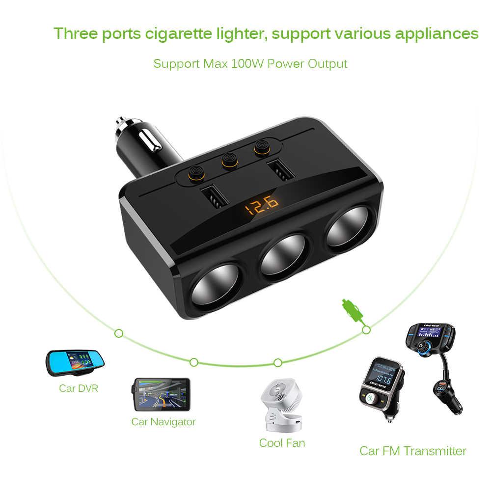 3 Way 100W разветвитель гнезда прикуривателя 3.1A двойной Переходник USB для зарядки в машине с автономными переключателями и вольтметр lcd