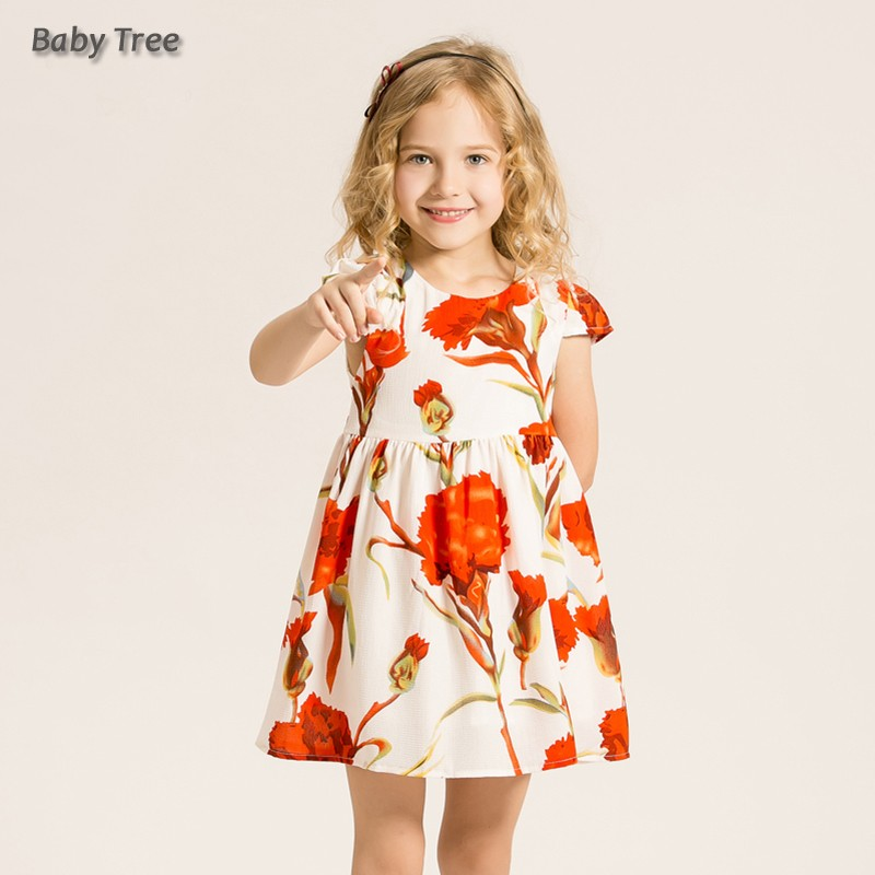 ea77577b852f 2 12T Little Girls Floral Dress Summer Sleeve Carnation Flower Print ...