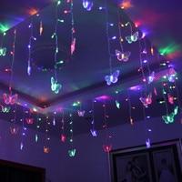 1.5x0.5 m LED Vlinder Lichtslingers Bollen Fairy Bruiloft benodigdheden decoraties creative kamer Guirlande knipperende LED vakantie lichten