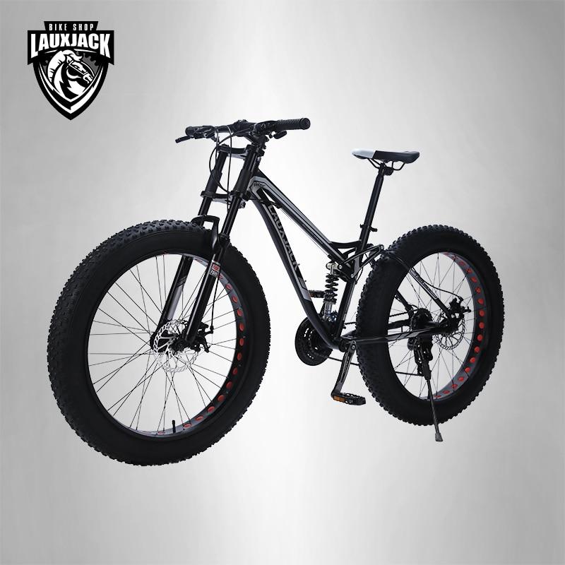 LAUXJACK Montanha Bicicleta Gordura Quadro de Aço Suspention Completo 24 Velocidade Freio A Disco Shimano 26