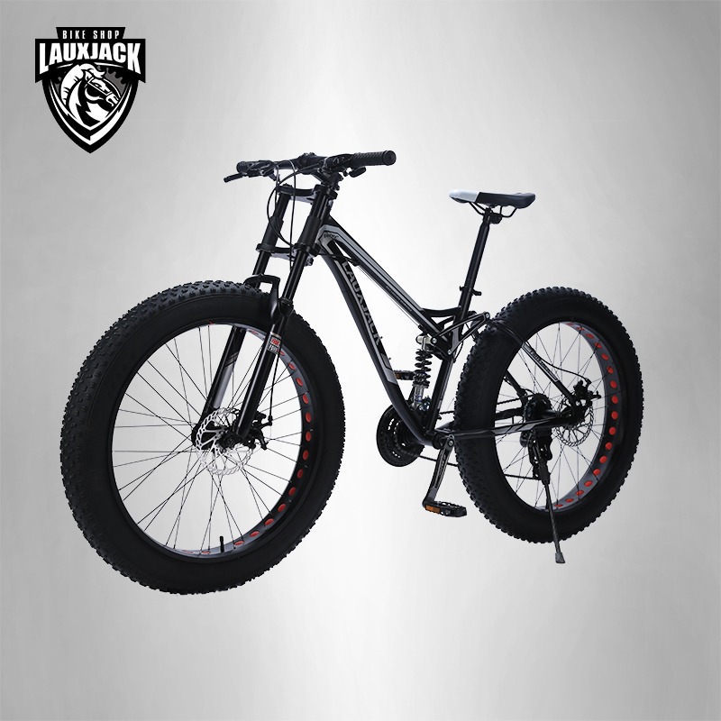 LAUXJACK Mountain Fat Bike Steel Frame Full Suspention 24 Speed Shimano Disc Brake 26 x4 0