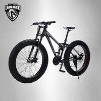 LAUXJACK Mountain Fat Bike Steel Frame Full Suspention 24 Speed Shimano Disc Brake 26x4.0 Wheel Long Fork