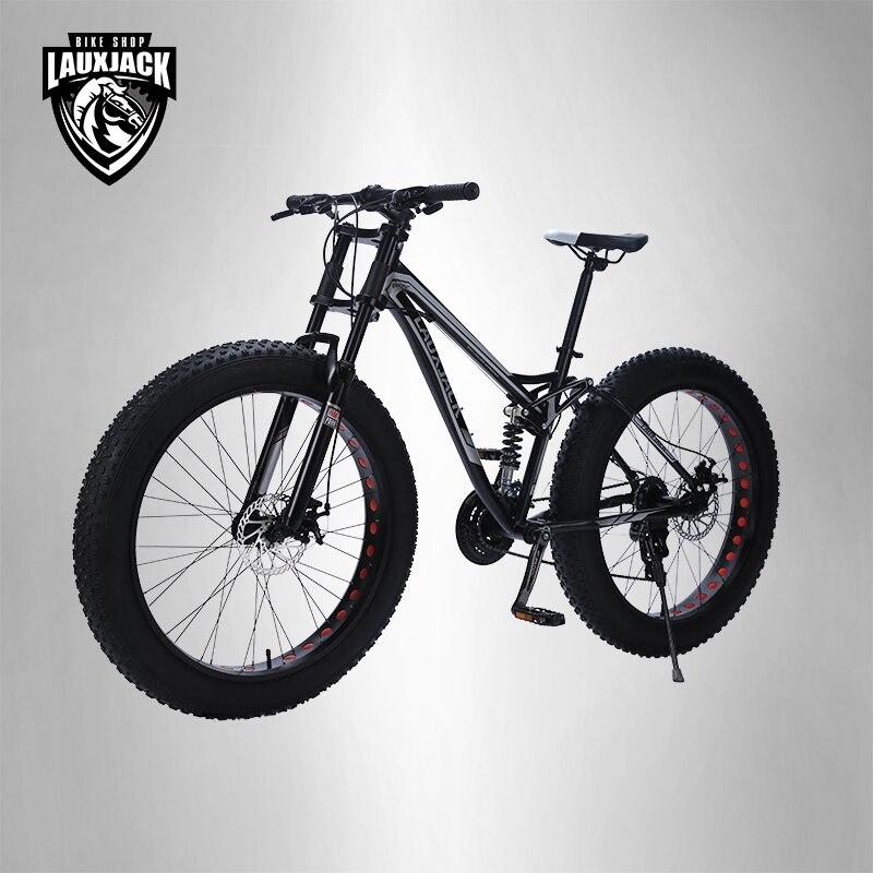 LAUXJACK montagne gros vélo cadre en acier suspension complète 24 vitesses Shimano frein à disque 26 x4.0 roue longue fourche