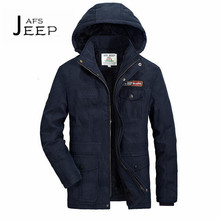 AFS JEEP Lana and cashmere inner 2017 man's 4xl 5xl thickness parkas coats,blue army green khaki detachable hooded out coats man