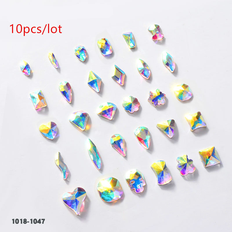 10pcs Drop Water Nail Art Rhinestones Crystal Stones Shiny DIY Charms Jewelry Nail Art Decoration in Rhinestones Decorations from Beauty Health