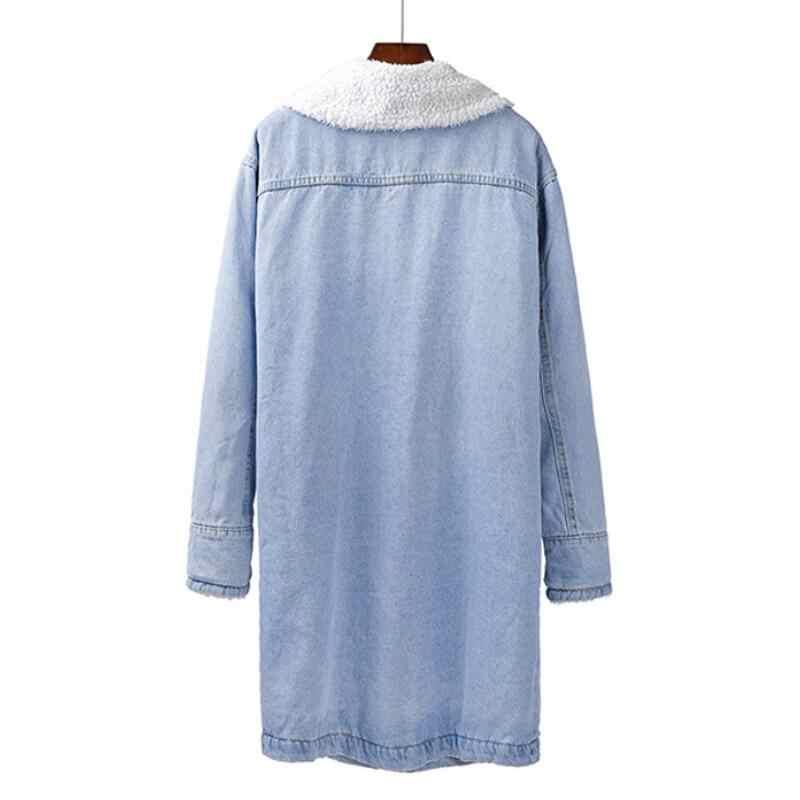 Spring Autumn Winter New 2019 Women lambswool jean Coat Long Sleeves Warm Jeans Coat Long Outwear Wide Denim Jacket for women