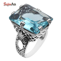 Fashion Jewelry Brand New 2016 Large Rectangular Aquamarine 925 Sterling Silver Rings For Women Retro Style