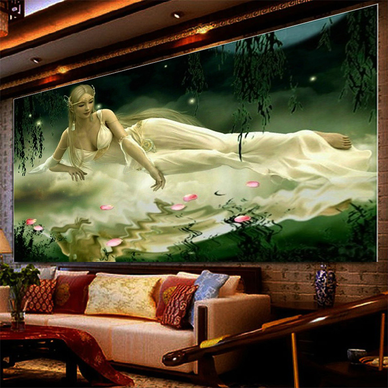 Diy Canvas DMC Counted Cross Stitch Kits printed Cross-stitch Embroidery decoration Wizard girl picture gift 80*57CM