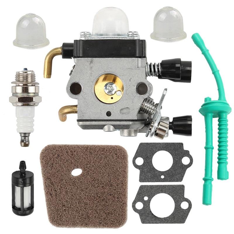 9PCS New Spark Plug Carburetor Set Part  Air Fuel Filter Gasket For STIHL FS38 FS45 FS46 FS55 Mower And Trimmer Metal Repair Kit