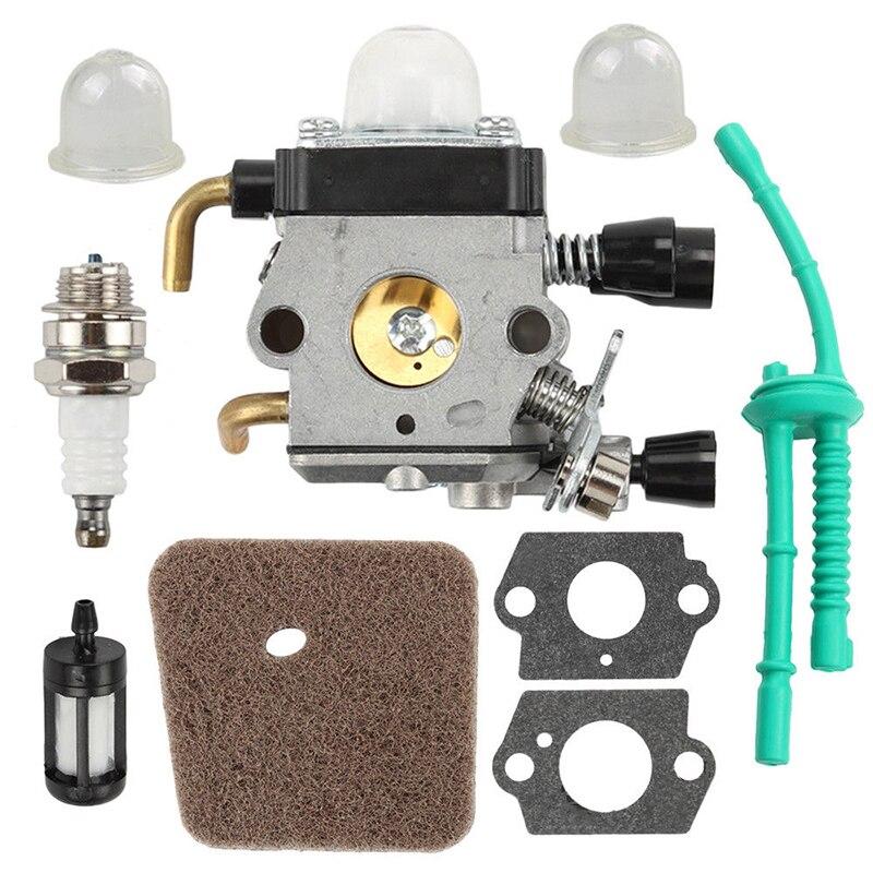 9PCS Spark Plug Carburetor Set Part Gasket For STIHL FS38 FS45 FS46 FS55 Trimmer