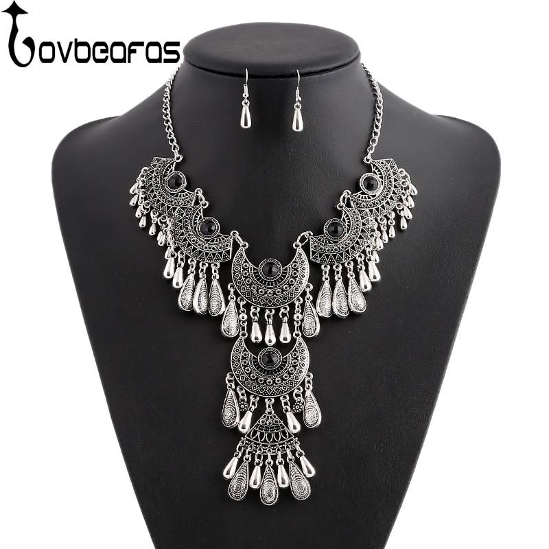 LOVBEAFAS 2019 Fashion Choker Bohemian Jewelry Sets Drop Tassel Statement Maxi Necklace Earrings For Women Colar Vintage Jewelry