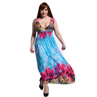 New Plus Size 6 7XL Women Summer Bohemian Sexy Elegand Maxi Tunic Contrast Flower Floral Print