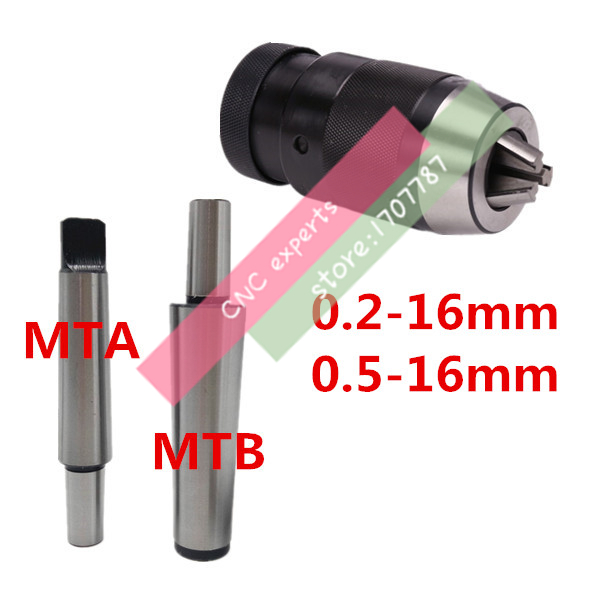 1SET Drill Chuck 0.2-16mm 0.5-16mm B18 With Morse Tapper Arbor MT1/MT2/MT3/MT4 3-16mm Automatic Locking Chuck Self Tighten Chuck