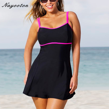 2016 New plus size monokini swimming for women high waist swimwear large size swimsuit female bathing suits D0145 Платье