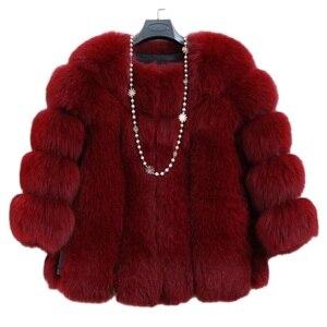 Nine points sleeve Fashion Women Clothes 2019 Fur Coat Import Whole Peel imitation Fox Fur Fur Coat Luxury European faux fur 6XL