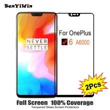 """2 sztuk Full Cover Screen Protector szkło hartowane dla Oneplus 6 6.28 """"9 H szkło ochronne dla OnePlus six 1 + 6 1 + 6 A6000 Film Case"""