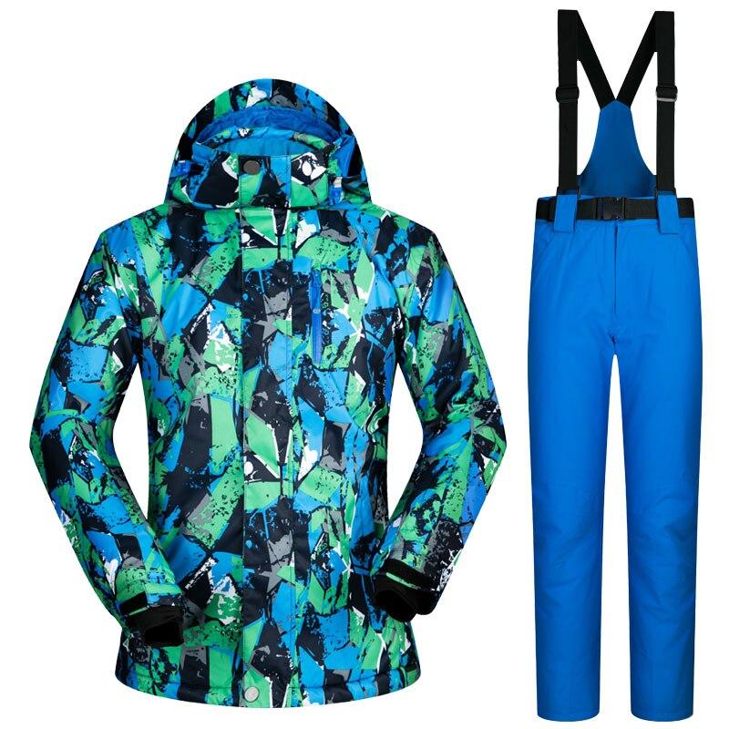 2017 NEW Men Ski Suit Super Warm Clothing Skiing Snowboard Jacket+Pants Suit Windproof Waterproof Winter Wear outdoor -20-30 new mens leather waterproof screen gloves mittens for male winter windproof ski super driving warm proctive gloves
