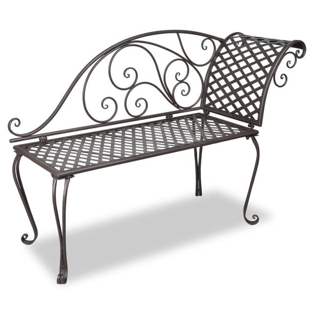 Vidaxl Metal Garden Chaise Lounge Antique Brown Rose Patterned In