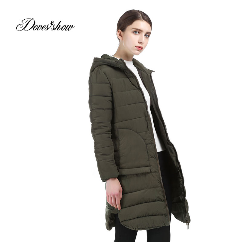 Doves Show Solid Color Long Women Winter Jacket Women Fashion Padded Coat Hooded Overcoat Women Parka Casaco Feminino HS206