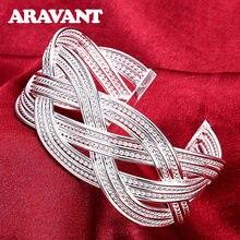 Grand Bracelet en toile tissée en argent 925 pour femmes, manchette ouverte Simple, bijoux cadeaux de fête