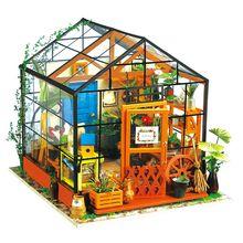 Greenhouse DIY Doll House Kit Cathy Flower DG104 Dollhouse Puzzle Children Friends Gift Kids Toys Decoration Intelligence