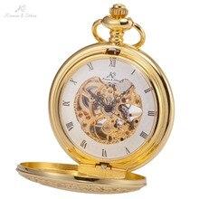 Retro Caso KS Auto Mecânica Esqueleto Liga de Ouro Luxo Cobre Chave Pingente Estilo Steampunk Roman Dial Relógio de Bolso Dos Homens/KSP045