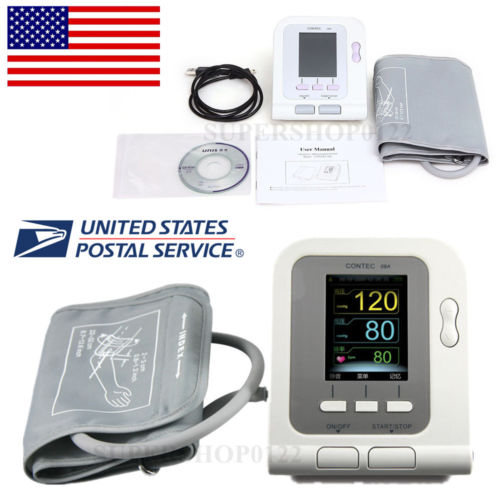 CE-USA-Color-CONTEC08A-Digital-Blood-Pressure-Monitor-Upper-Arm-NIBP-Software abpm50 ce fda approved 24 hours patient monitor ambulatory automatic blood pressure nibp holter with usb cable