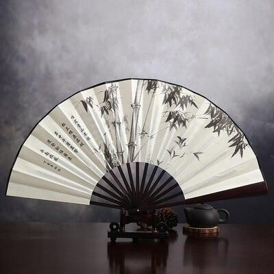 """1"""" украшенный Шелковый складной Ручной Веер человек большой бамбуковый китайский Печатный веер из ткани традиционное ремесло свадебные сувениры веер - Цвет: bamboo"""