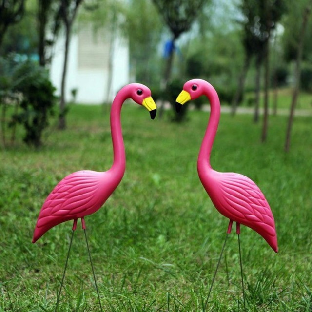 2pcs pe lifelike artificial flamingo ornament for home garden yard lawn art christmas wedding ceremony decoration - Christmas Flamingos Yard Decorations