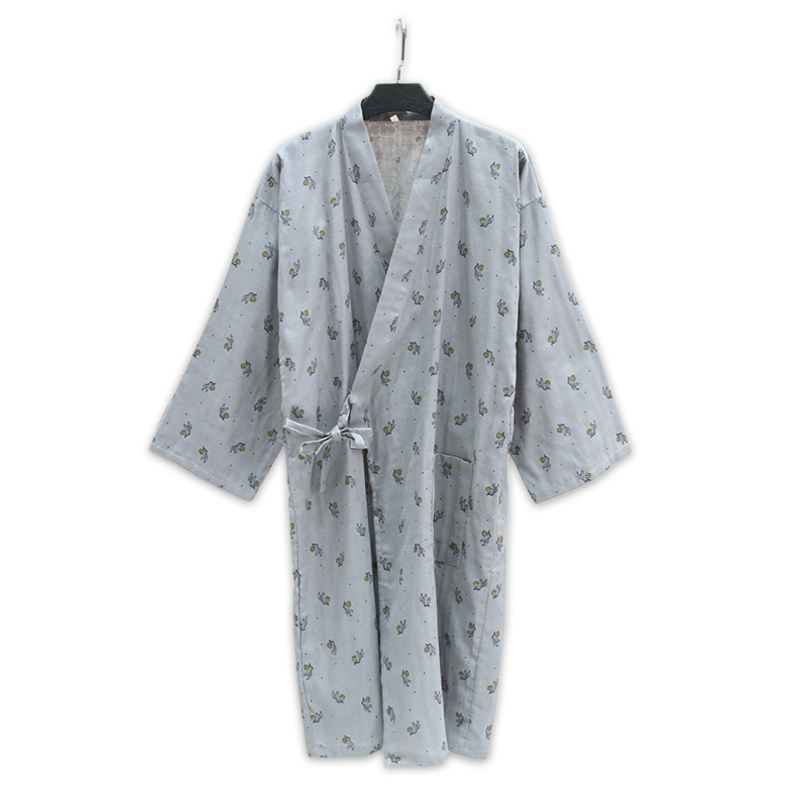 Mens cute zebra 100% cotton kimono robes men Spring simple bathrobes long sleeve SPA casual Japanese robes for male ...