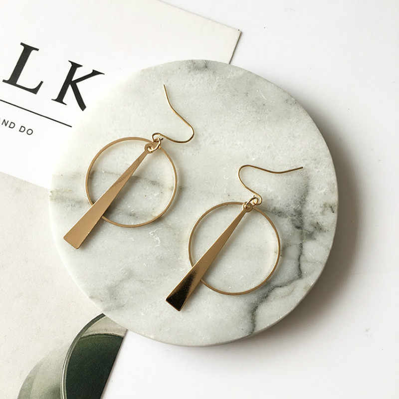 South Korea Earrings Jewelry Temperament Simple Retro Long Circle Ear Line Geometric Earrings For Women Statement earrings