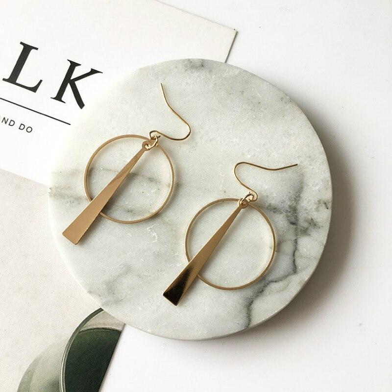 South Korea Earrings Jewelry Temperament Simple Retro Long Circle Ear Line Geometric Earrings For Women Statement earrings