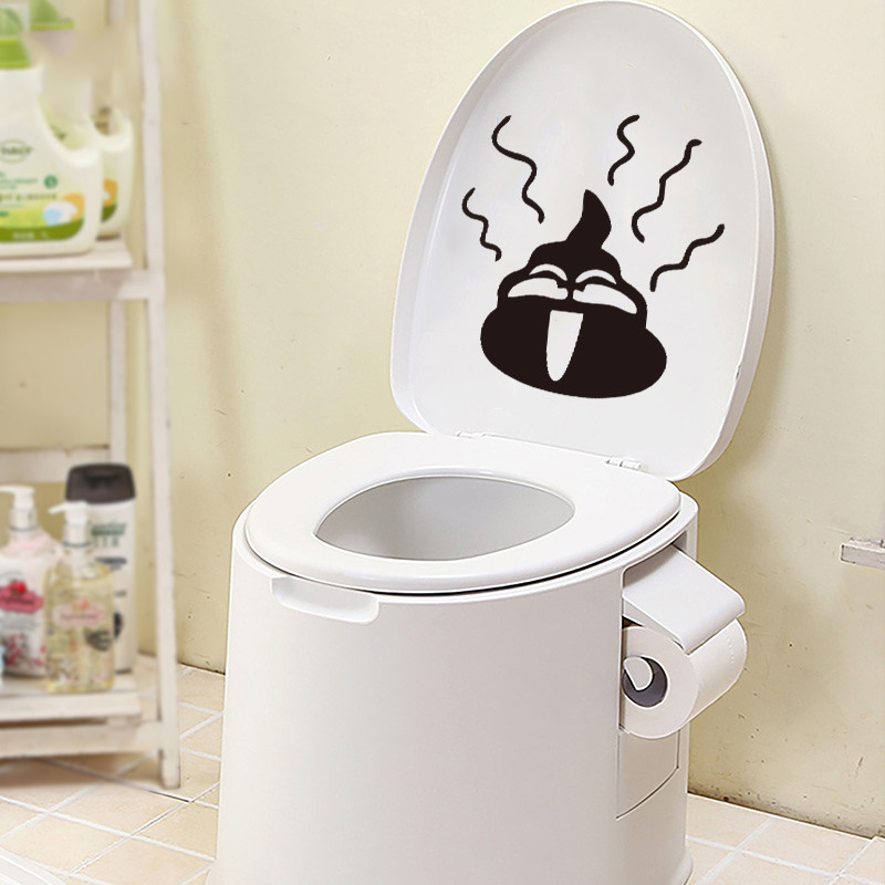 funny toilet bathroom wall sticker vinyl home decor wall decals waterproof decal say goodbye with stool