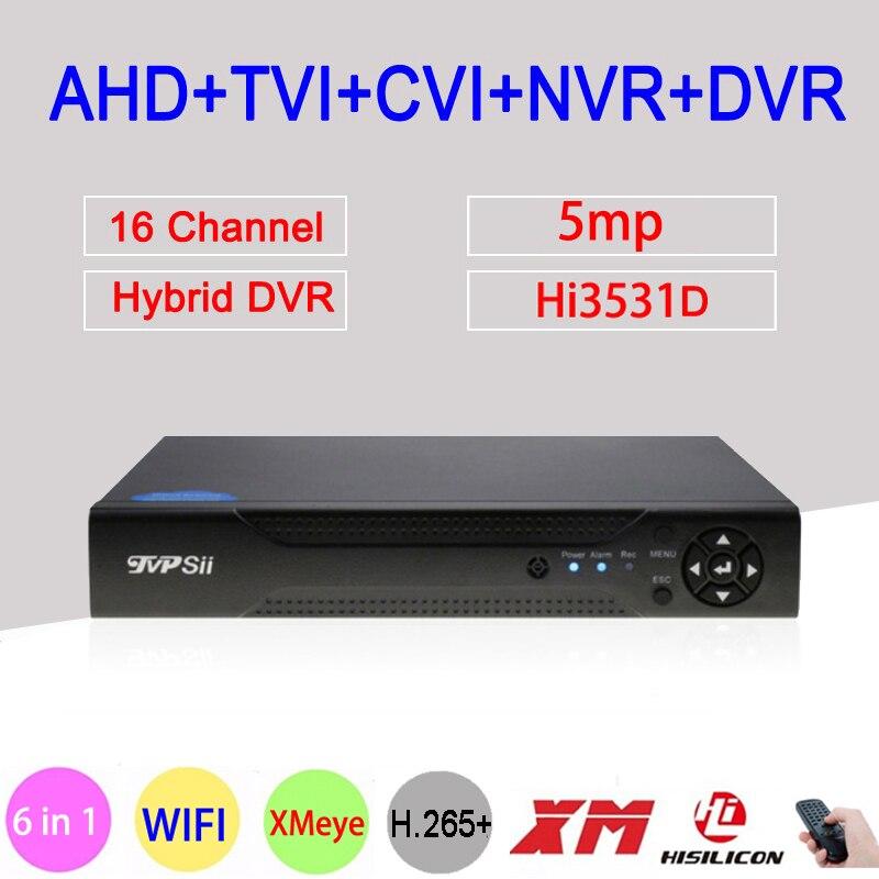 Câmera de Vigilância 5MP Xmeye H.265 + Hi3531D 16 Canal 16CH 6 em 1 Wi-fi NVR Híbrido XVI CVI TVi AHD CCTV DVR Frete Grátis
