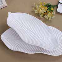 High Grade A5 Melamine Dinnerware Porcelain White Dinner Plate Banana Leaf Lrregular Dish Western Restaurant Melamine