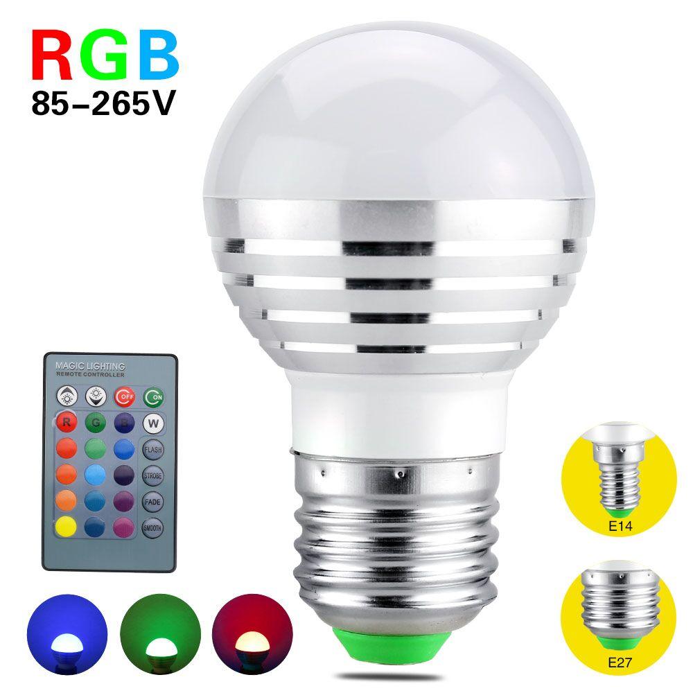 2017 RGB LED Bulb E27 E14 5W LED Light Led Spotlight Spot lights 16 Color Change Dimmable Lampada 110v 220v 24Keys Remote