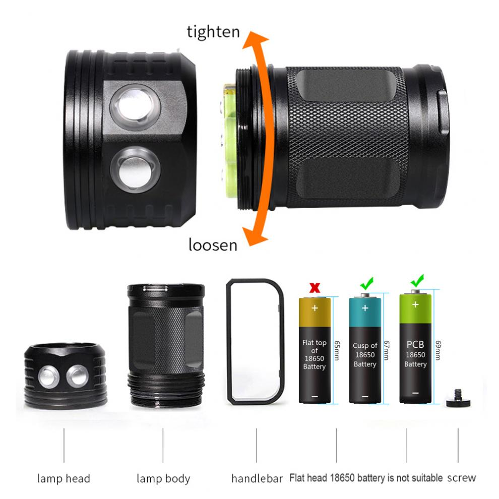 LED Diving Flashlight QX27 500W Fitteen 5050 White XML2 Six XPE Red R5 Six XPE Blue R5 LED 80m Flashlight for Diving Photography in LED Flashlights from Lights Lighting
