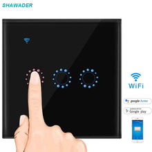 Smart Wifi Touch Light Switch 3 Gang Glass Screen Touch Panel Voice Control Wireless Wall Switch work with Alexa,Google Home qiachip wifi smart switch work with amazon alexa app voice control touch screen 3 gang light glass panel smart google eu plug e