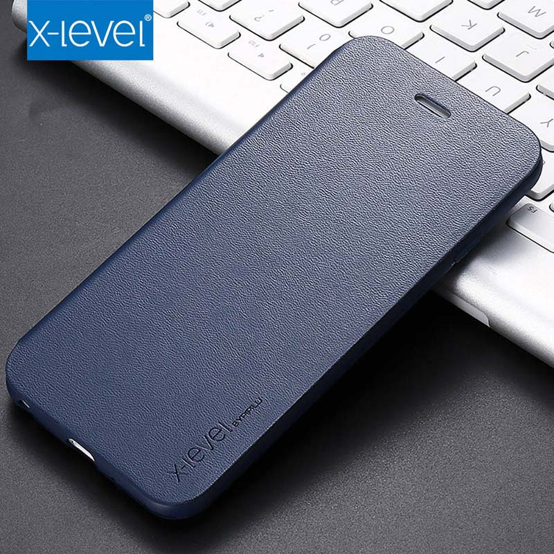 X-level Original Ultra Thin Slim Flip Case Leather TPU Book Cover For Iphone 7 7Plus