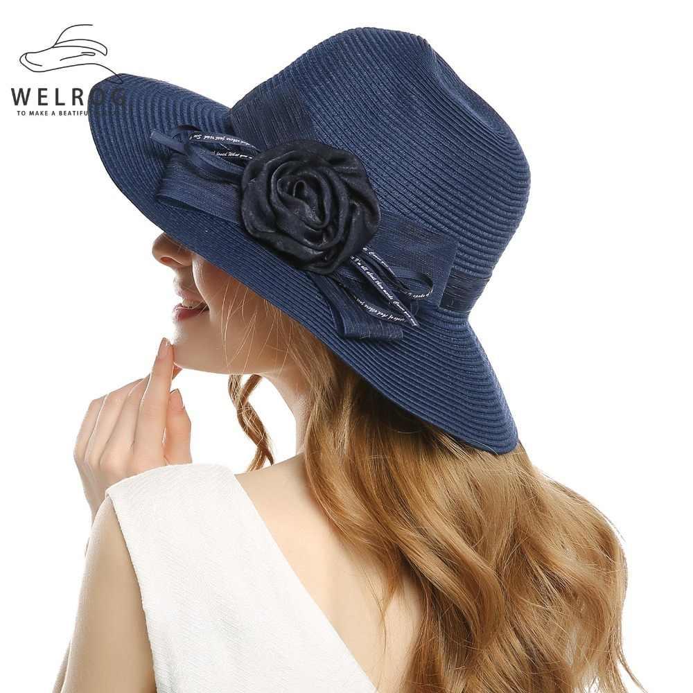 19370189693 WELROG Elegant Church Black Organza Hat Summer Ladies Kentucky Derby Hats  Lady Formal Wide Brim Flat