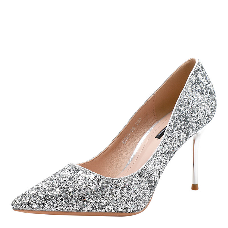 Wedding Shoes Womens Single Shoes Shallow Sequins Tip High-heeled Shoes Fine-heeled 2019 New Women's Shoes Fashion Spring Summer