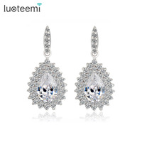 LUOTEEMI Sparkling Top Quality AAA Cubic Zirconia Party Wear Water Drop Earrings for Ladies Sexy Club Dress Shinning Jewelry