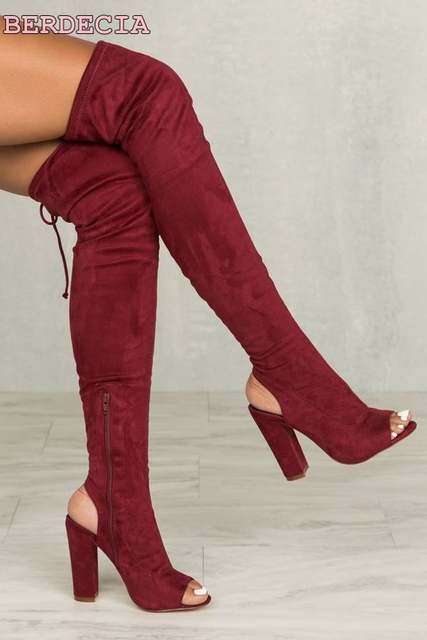 c7b5f4160 Nova moda dedo aberto sobre o joelho botas de cano alto de camurça vermelha  sapatos de