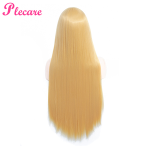 Image 4 - Plecare Long Blonde Wig Ombre Synthetic Wig  Heat Resistant  Pruiken Wig For Black/White Women Cosplay Wig
