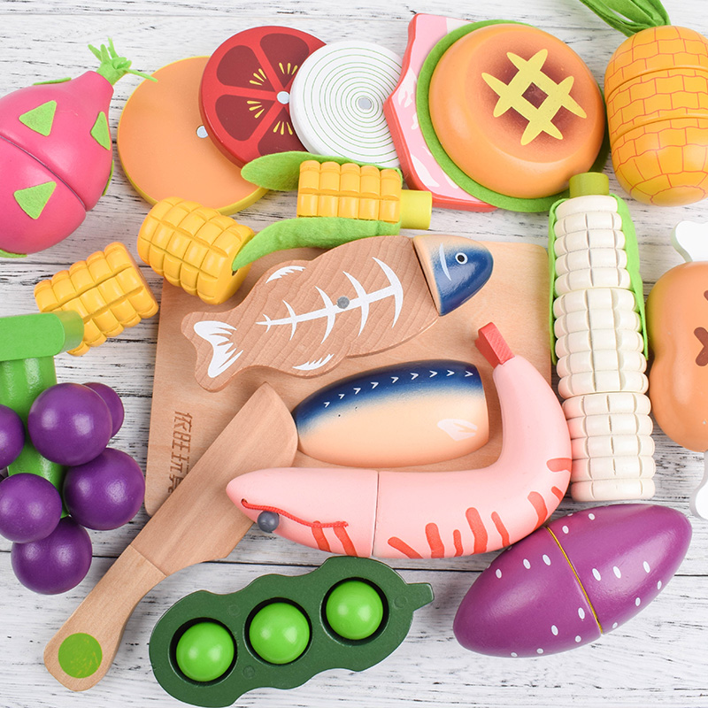 Mother garden Wooden <font><b>Pretend</b></font> Play Kitchen Toys Wooden Cutting Fruit Vegetable Toys Colorful Educational Food Toys for Kids girls