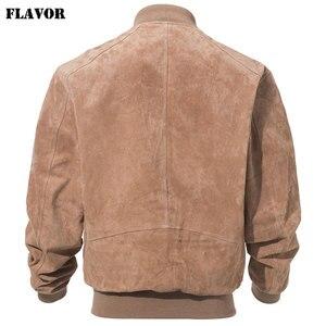 Image 3 - FLAVOR Men klasyczny prawdziwy świński płaszcz prawdziwy Baseball Bomber skórzana kurtka